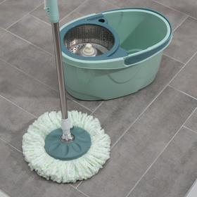 Набор для уборки: ведро на колёсиках с металлической центрифугой 16 л, швабра, запасная насадка из микрофибры - фото 4644228
