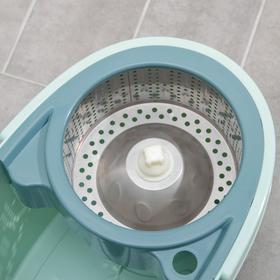 Набор для уборки: ведро на колёсиках с металлической центрифугой 16 л, швабра, запасная насадка из микрофибры - фото 4644230