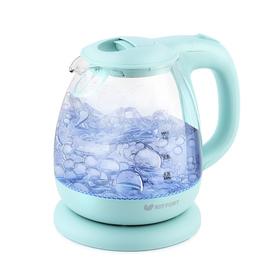 Чайник Kitfort KT-653-1, стекло, 1 л, 1100 Вт, голубой