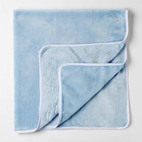 Плед детский  нежно голубой 90х100см, велсофт 260г/м пэ100%