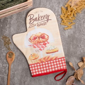 "Варежка-прихватка ""Bakery house"" 20х28см,саржа, 100% х/л, ватин 250г/м2"