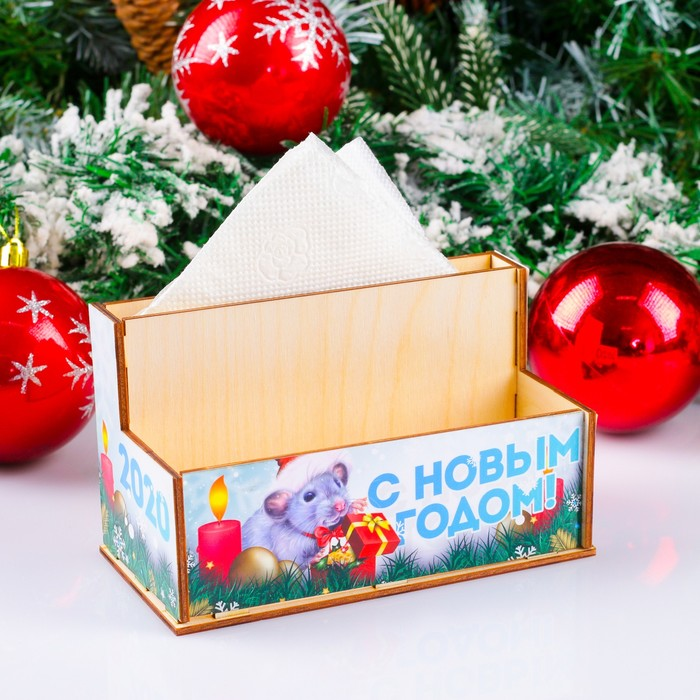 """Подставка для салфеток и специй """"С Новым Годом. 2020!"""" с ламинацией, 16×8×9 см"""