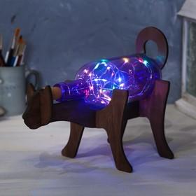 Светильник в бутылке на деревянной подставке «Кот»