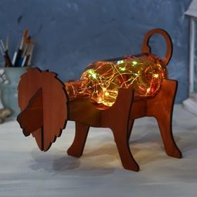 Светильник в бутылке на деревянной подставке «Лев»