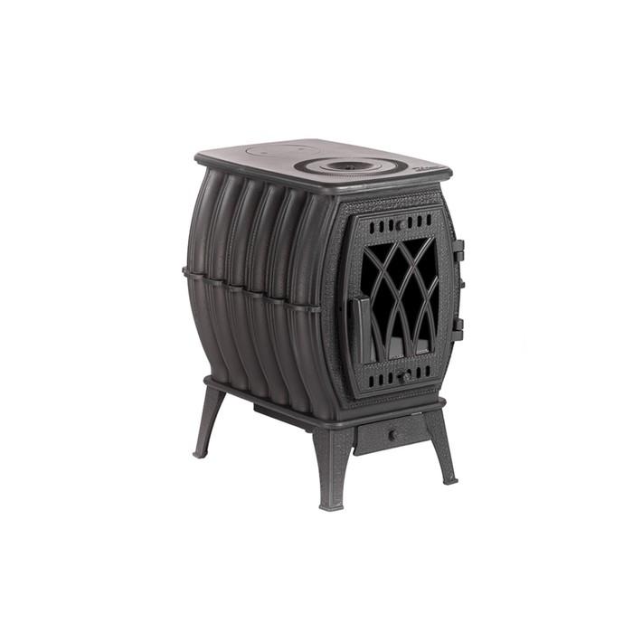 Печь-камин отопительно-варочная «Бахта», цвет чёрный металлик