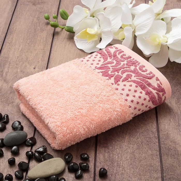 Полотенце махровое TOSKANA Танаис (коробка) 50х90 см, персик, хлопок 100%, 450г/м2