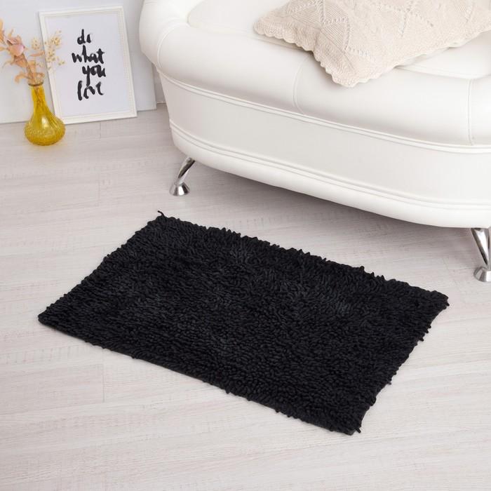 Ковёр «Шегги», 50 х 80 см, цвет черный, хлопок