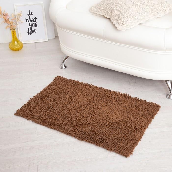 Ковёр «Шегги», 50 х 80 см, цвет коричневый, хлопок