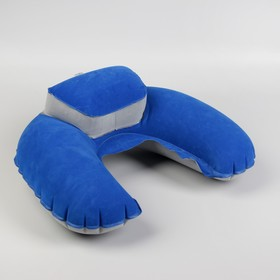 Подушка-воротник для шеи, с подголовником, надувная, в чехле, 43 × 28 см, цвет МИКС - фото 4639295