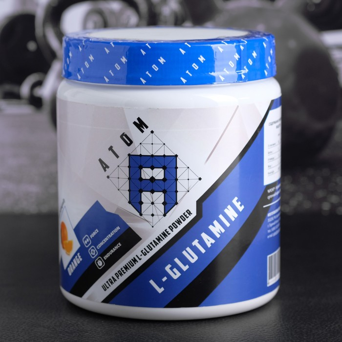 АТОМ,  L-GLUTAMINE ULTRA PREMIUM L-GLUTAMINE POWDER Банка 500 г /Апельсин/