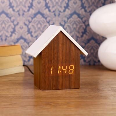 "Часы электронные ""Домик"" с термометром и календарем, 11х10 см, 3ааа"
