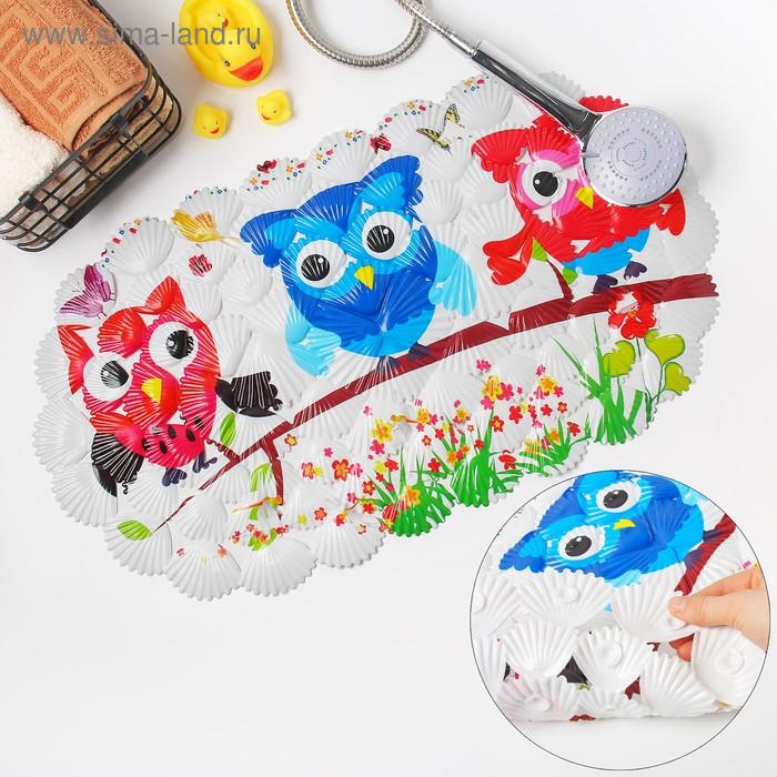 """Bathmat """"Owls"""" 65х37 cm, shell"""