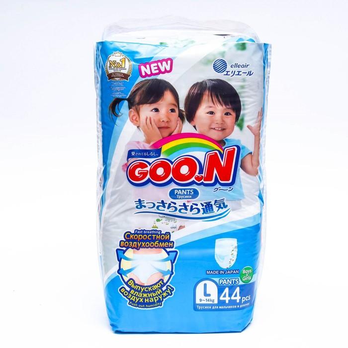 Подгузники-трусики для мальчиков и девочек GOO.N, размер L, 9-14 кг, 44 шт.