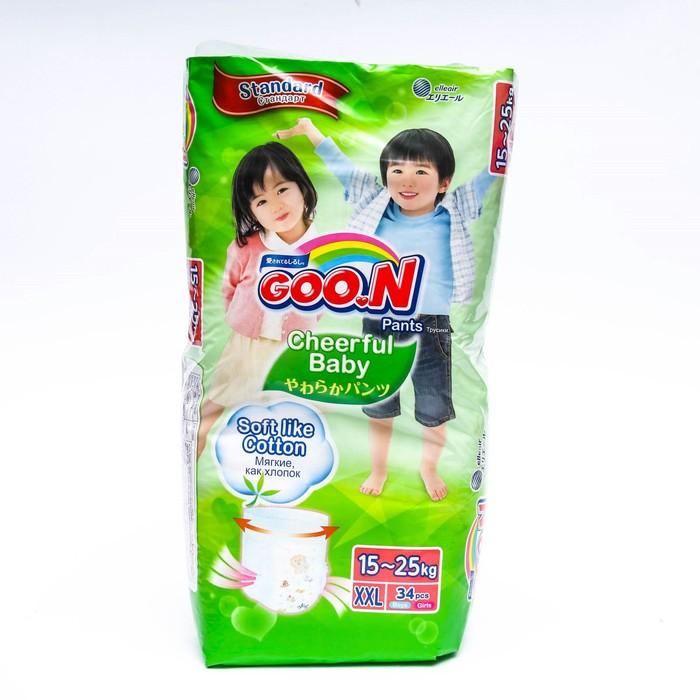 Подгузники-трусики GOO.N Cheerful Baby XXL (15-25 кг), 34 шт.