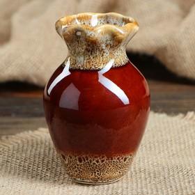 "Ваза ""Волна"" 10,5 см, коричневая, керамика в Донецке"