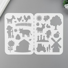 "Трафарет пластик ""Маленькие приключения на ферме"" 21х32 см"