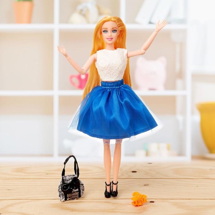 Кукла модель шарнирная «Эмели» в платье, с аксессуарами