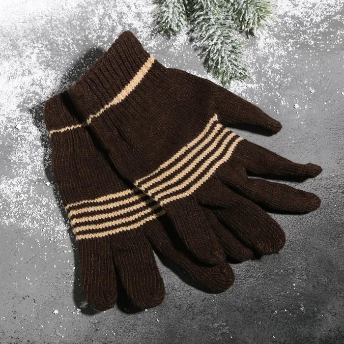 Перчатки вязаные, цвет коричневый