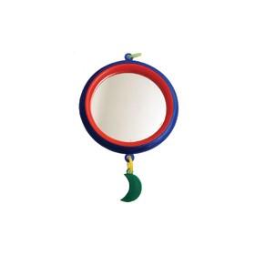 """Зеркало """"Круг"""" большое с пластиковым подвесом, для птиц, 9 см, микс цветов"""