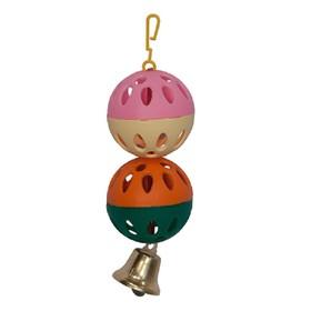 Игрушка для птиц 2 шарика с колокольчиком, микс цветов