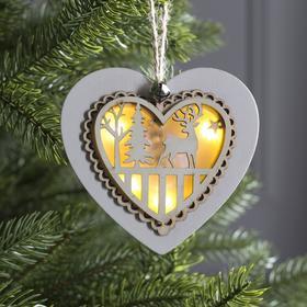 """Подвеска световая """"Сердце новогоднее белое"""", 10х10х2 см, 3 LED, бат(в комп) Т/БЕЛЫЙ"""