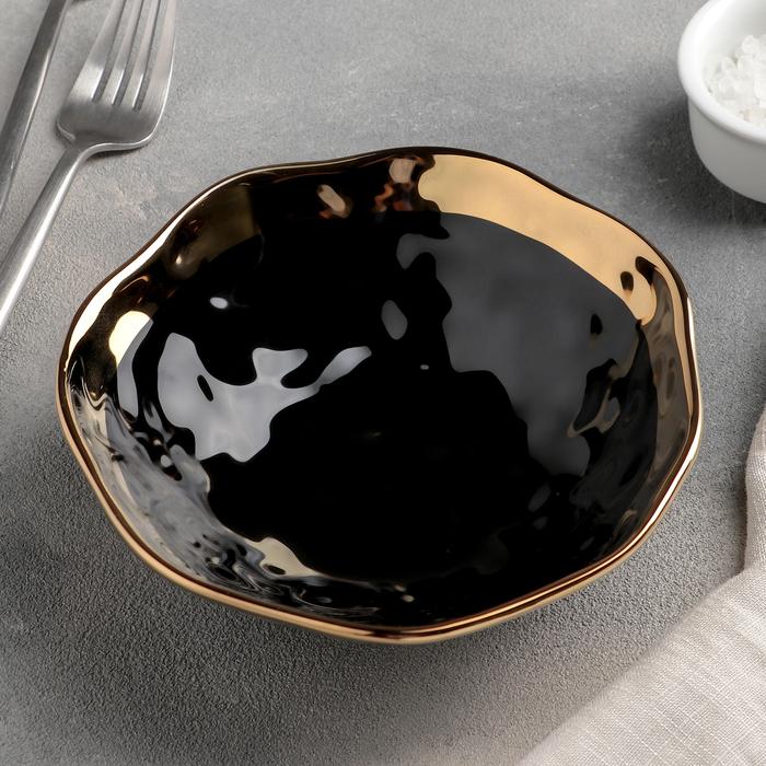 Салатник «Инь и ян», 450 мл, d=15 см, цвет чёрный - фото 604112