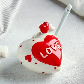 Сахарница с ложкой «Сердца», 9×9×8 см, цвет МИКС
