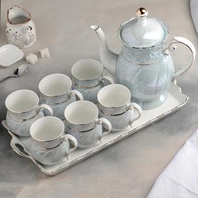 """Набор питьевой """"Лаванда"""", 7 предметов: чайник 1,5 л, 6 кружек 200 мл, на керамическом подносе"""