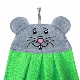Полотенце-рушник махровый Мышка арт: 1212, 43х35, зел, хл100%, 300 гр.