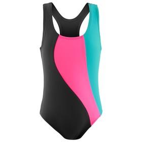 Купальник для плавания сплошной «Волна», тёмно-серый/розовый /лагуна, размер 36