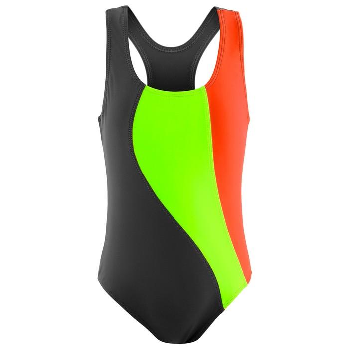 Купальник для плавания сплошной «Волна», серый/зелёный неон/коралл, размер 34
