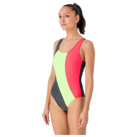 "Swimsuit for swimming a continuous ""Wave"", grey/neon green/coral, size 40"