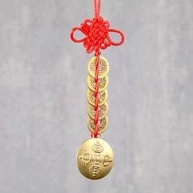 """Подвеска металл """"5 монет и чаша с узлом счастья"""" 17,5х4 см"""
