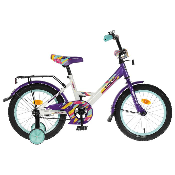 """Велосипед 16"""" Graffiti Classic RUS, 2019, цвет белый/фиолетовый"""
