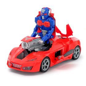 Робот-трансформер «Спорткар», световые и звуковые эффекты, работает от батареек, цвет красный