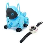 Робот-собака радиоуправляемый «Паппи», световые и звуковые эффекты, работает от аккумулятора, цвет голубой - фото 187359