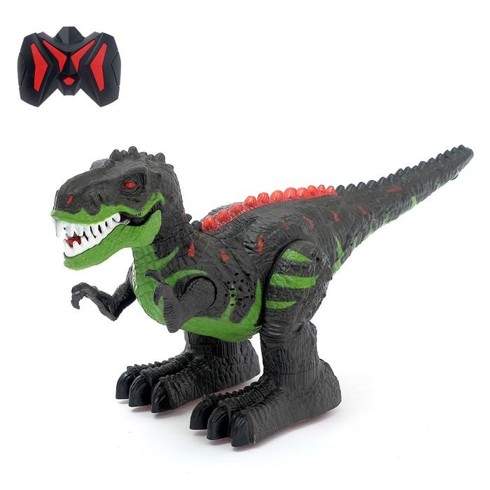 Динозавр радиоуправляемый T-REX, двигает головой, работает от батареек, свет и звук, МИКС