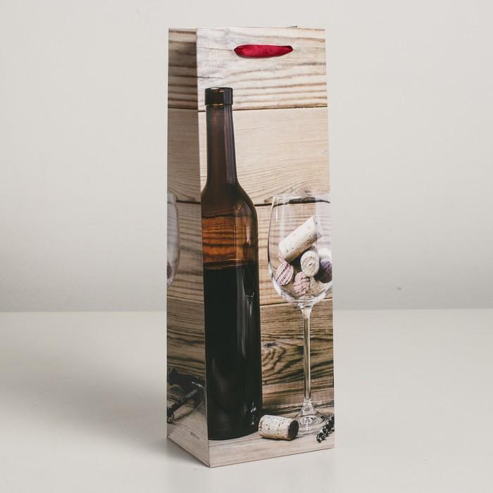 Пакет ламинированный под бутылку, 12 х 9 х 36 см - фото 733152
