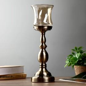 "Подсвечник металл, стекло на 1 свечу ""Рыцарский кубок"" латунь 45х12х12 см"