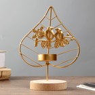 """Candle holder metal candle tree 1 """"birds on branch with rose"""" gold 17,6х13х8 cm"""