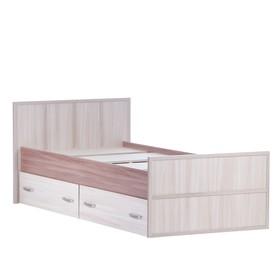 Кровать 900 с ящиками Сакура, Ясень шимо темный/Ясень шимо светлый