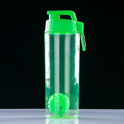Shaker-water bottle 850 ml, with carabiner and ball 24х9 cm, mix