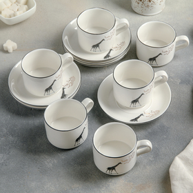 "Set coffee 12 PREV ""Giraffe"" 6 cups 9,5x7,5x5,5 cm, 120 ml, 6 saucers 13,5x2 cm"