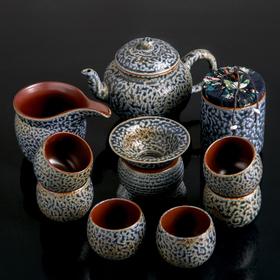 "Набор для чайной церемонии ""Империя"", 11 предметов: чайник 300 мл, 6 пиал 50 мл, чахай 200 мл, сито, банка"