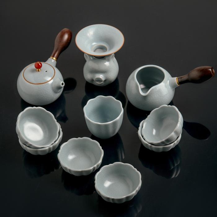 "Набор для чайной церемонии 11пр ""Небо""чайник 200мл,6 пиал 50мл,чахай 150мл,сито,стакан 120мл   44913"