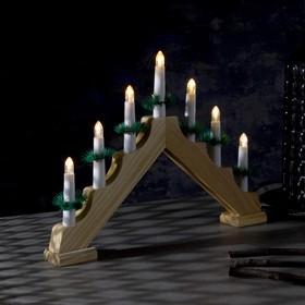 """Фигура дерев. """"Горка рождественская"""", 7 свечей LED, 220V, Т/БЕЛЫЙ"""