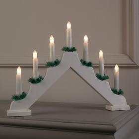 """Фигура дерев. """"Горка рождественская белая"""", 7 свечей LED, 220V, Т/БЕЛЫЙ"""