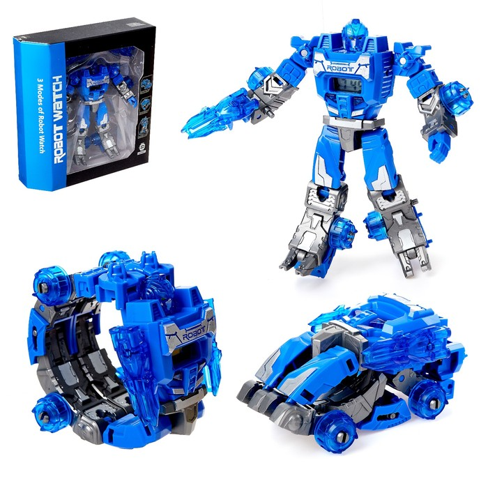 Робот - трансформер «Часы», трансформируется в робота и машинку, цвета МИКС - фото 105503568