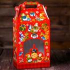 "Коробка подарочная ""Паттерн Снеговики"", красный с окном, 20,3 х 12,3 х 41 см"
