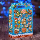 """Коробка подарочная """"Паттерн Пряничный"""", голубой, 14 x 6 x 17,5 см"""